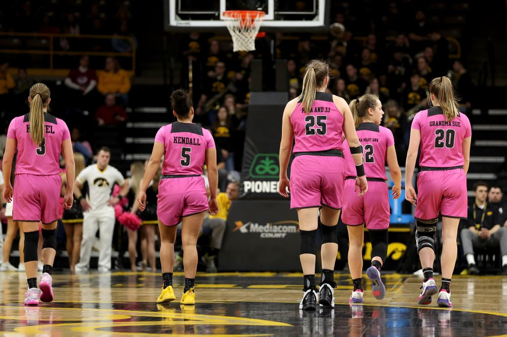 The Iowa Hawkeyes against the Wisconsin Badgers Sunday, February 16, 2020 at Carver-Hawkeye Arena. (Brian Ray/hawkeyesports.com)