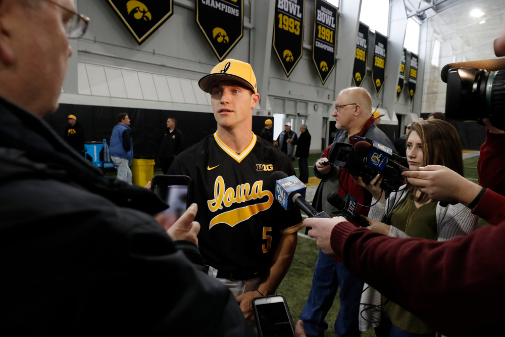Iowa Hawkeyes catcher Tyler Cropley (5) answers questions from reporters during the team's annual media day Thursday, February 8, 2018 in the indoor practice facility. (Brian Ray/hawkeyesports.com)