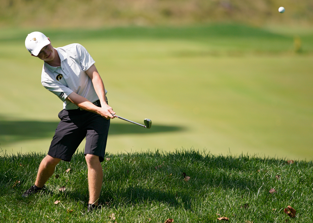 Iowa's Matthew Garside chips onto the green during the second day of the Golfweek Conference Challenge at the Cedar Rapids Country Club in Cedar Rapids on Monday, Sep 16, 2019. (Stephen Mally/hawkeyesports.com)