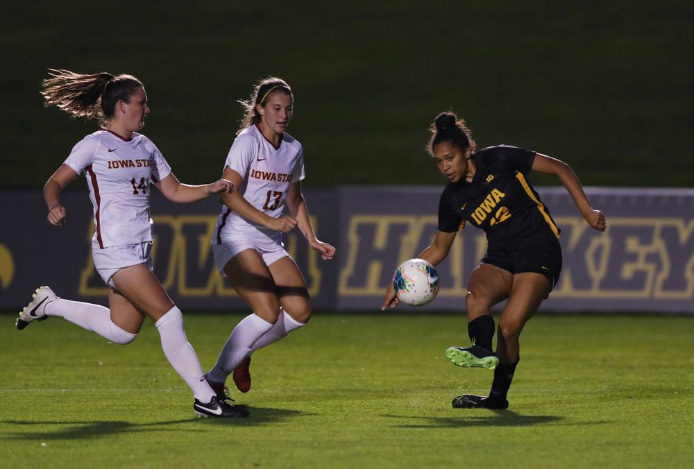 Iowa Hawkeyes forward Olivia Fiegel (12) during a 2-1 victory over the Iowa State Cyclones Thursday, August 29, 2019 in the Iowa Corn Cy-Hawk series at the Iowa Soccer Complex. (Brian Ray/hawkeyesports.com)