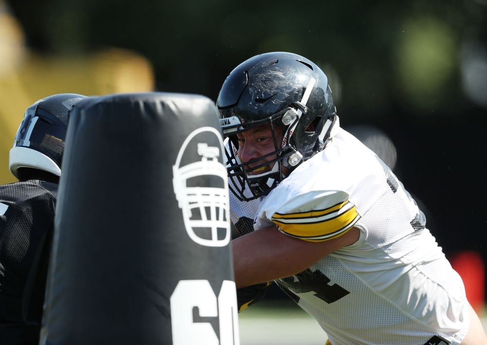 Iowa Hawkeyes linebacker Kristian Welch (34) during Fall Camp Practice No. 5 Tuesday, August 6, 2019 at the Ronald D. and Margaret L. Kenyon Football Practice Facility. (Brian Ray/hawkeyesports.com)