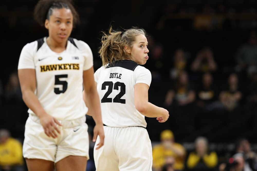 Iowa Hawkeyes guard Kathleen Doyle (22) against the Rutgers Scarlet Knights Wednesday, January 23, 2019 at Carver-Hawkeye Arena. (Brian Ray/hawkeyesports.com)