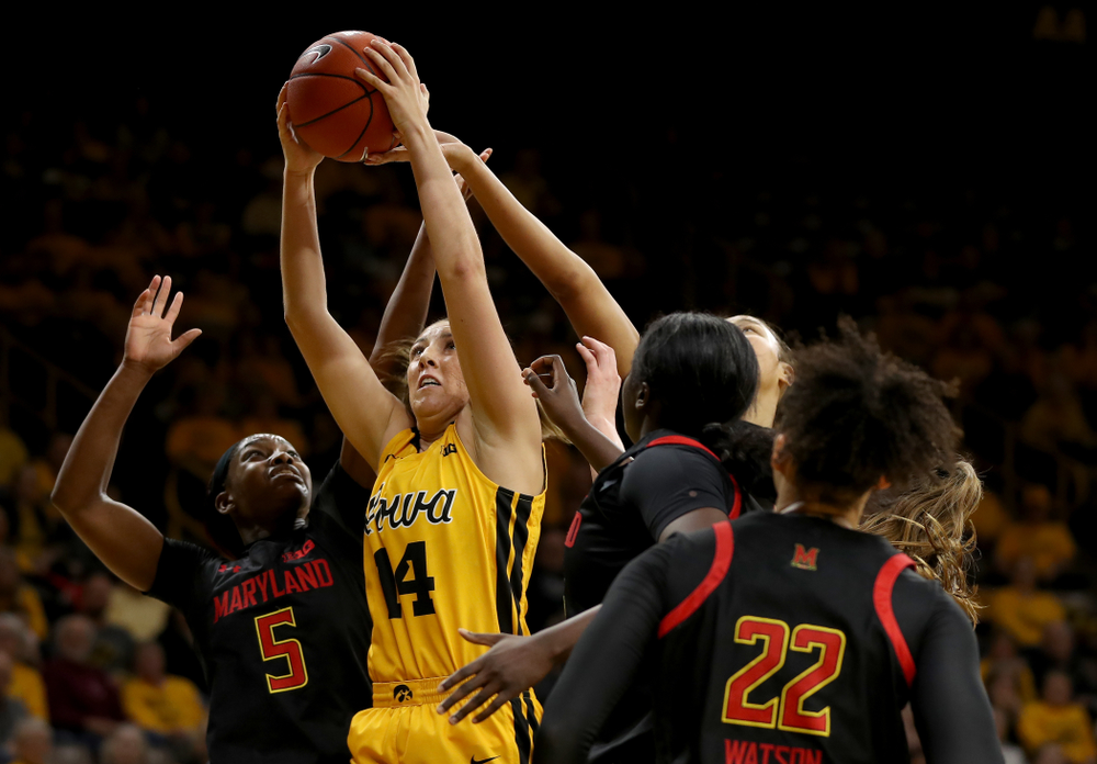 Iowa Hawkeyes forward McKenna Warnock (14) against the Maryland Terrapins Thursday, January 9, 2020 at Carver-Hawkeye Arena. (Brian Ray/hawkeyesports.com)