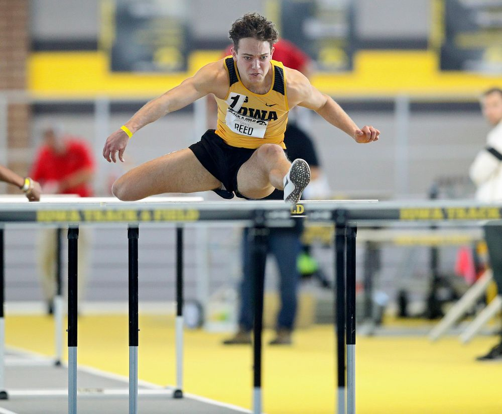 Iowa's Gratt Reed runs the men's 60 meter hurdles event at the Black and Gold Invite at the Recreation Building in Iowa City on Saturday, February 1, 2020. (Stephen Mally/hawkeyesports.com)