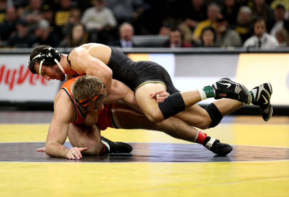 Iowa's Michael Kemerer Wrestles Oklahoma State's Joseph Smith at 174 pounds Sunday, February 23, 2020 at Carver-Hawkeye Arena. Kemerer won the match 12-2. (Brian Ray/hawkeyesports.com)
