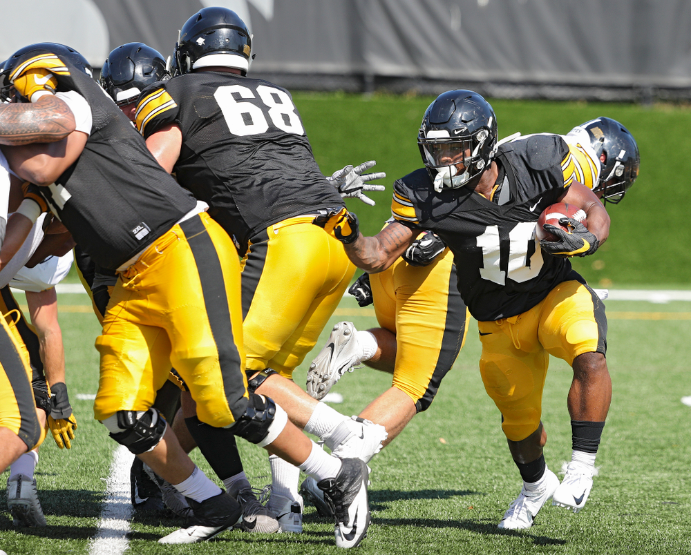 Iowa Hawkeyes running back Mekhi Sargent (10) carries the ball during Fall Camp Practice #5 at the Hansen Football Performance Center in Iowa City on Tuesday, Aug 6, 2019. (Stephen Mally/hawkeyesports.com)