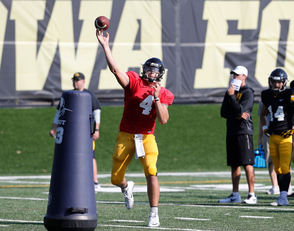 Iowa Hawkeyes quarterback Nathan Stanley (4) during camp practice No. 17 Wednesday, August 22, 2018 at the Kenyon Football Practice Facility. (Brian Ray/hawkeyesports.com)