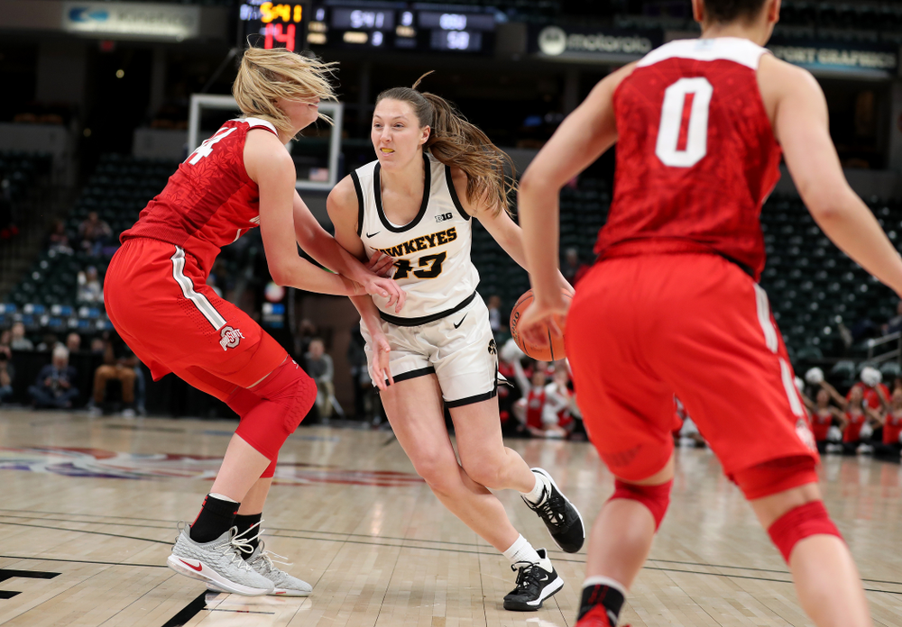 Iowa Hawkeyes forward Amanda Ollinger (43) against Ohio State in the quarterfinals of the Big Ten Basketball Tournament Friday, March 6, 2020 at Bankers Life Fieldhouse in Indianapolis. (Brian Ray/hawkeyesports.com)