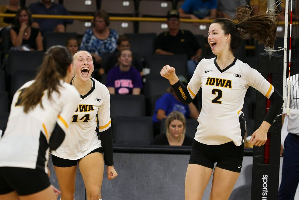 Iowa Hawkeyes outside hitter Cali Hoye (14), Iowa Hawkeyes setter Courtney Buzzerio (2)