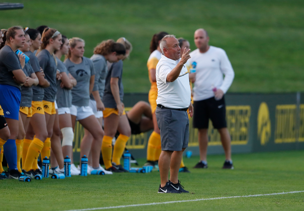 Iowa Hawkeyes head coach Dave DiIanni against the Missouri Tigers Friday, August 17, 2018 at the Iowa Soccer Complex. (Brian Ray/hawkeyesports.com)