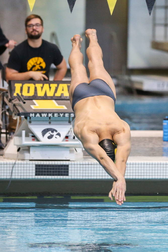 Iowa's Will Scott during Iowa swim and dive vs Minnesota on Saturday, October 26, 2019 at the Campus Wellness and Recreation Center. (Lily Smith/hawkeyesports.com)