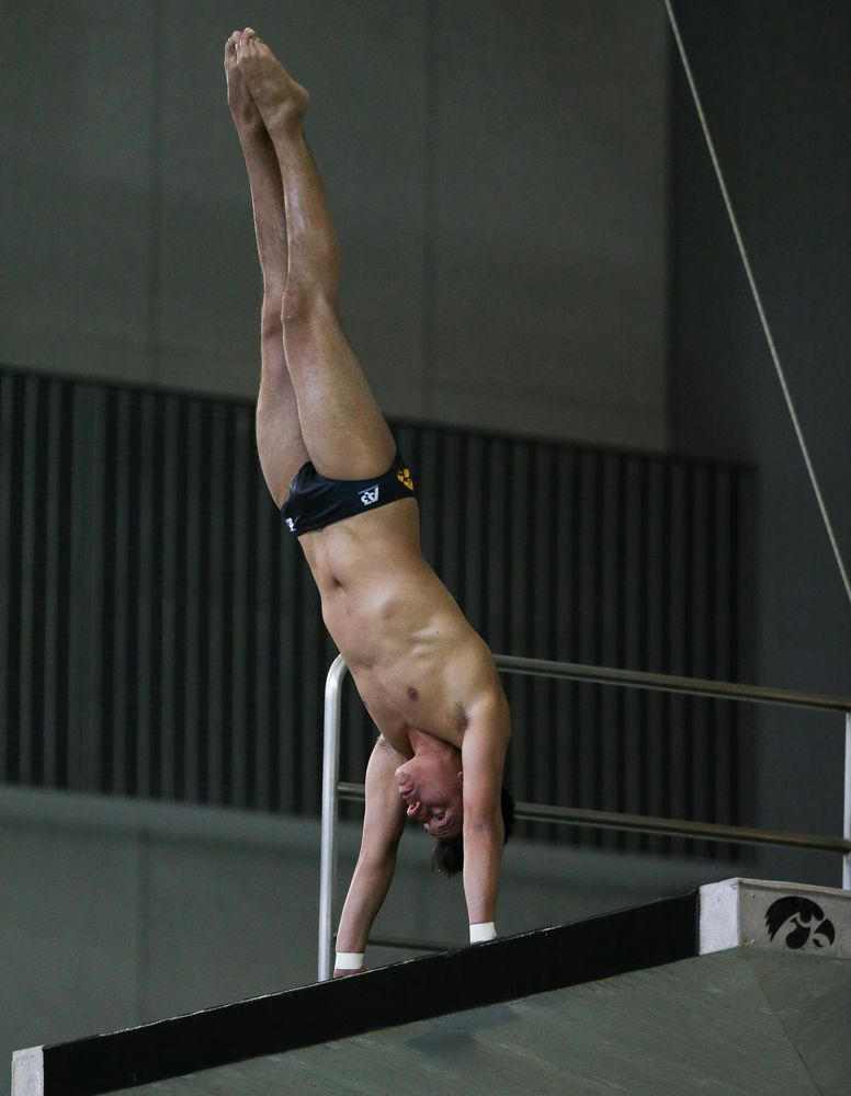 Iowa's Jonatan Posligua competes in the platform diving competition during the third day of the Hawkeye Invitational at the Campus Recreation and Wellness Center on November 17, 2018. (Tork Mason/hawkeyesports.com)