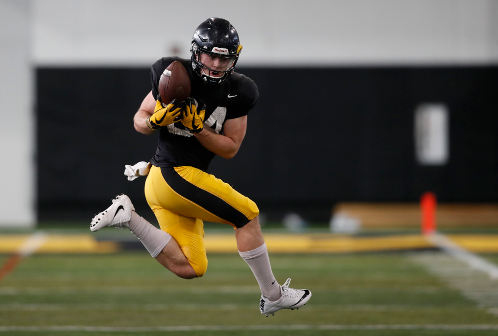 Iowa Hawkeyes wide receiver Nick Easley (84) during spring practice Wednesday, March 28, 2018 at the Hansen Football Performance Center.  (Brian Ray/hawkeyesports.com)