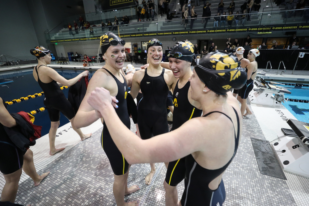 The Iowa Hawkeyes 4x100 yard relay team against the Iowa State Cyclones in the Iowa Corn Cy-Hawk Series Friday, December 7, 2018 at at the Campus Recreation and Wellness Center. (Brian Ray/hawkeyesports.com)