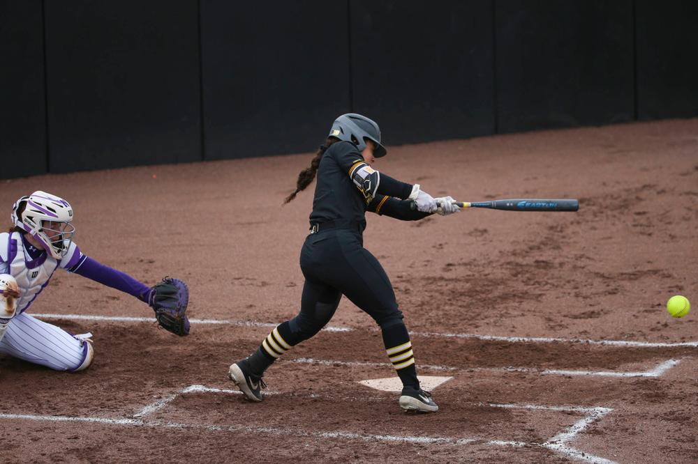 Iowa outfielder Lea Thompson (7) at game 2 vs Northwestern on Saturday, March 30, 2019 at Bob Pearl Field. (Lily Smith/hawkeyesports.com)