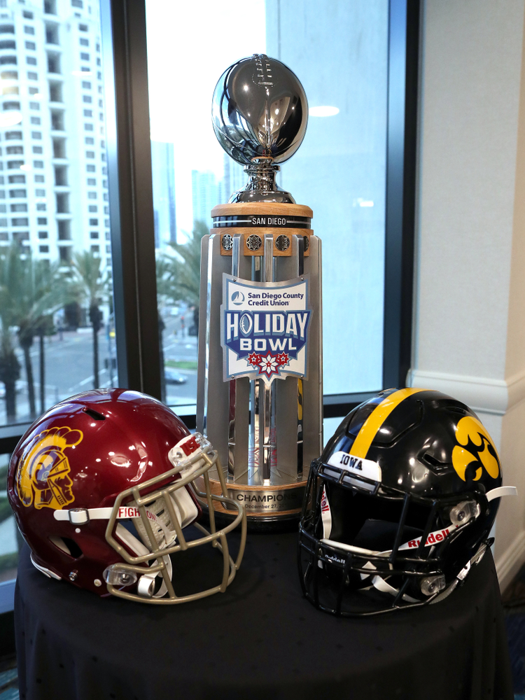 The Holiday Bowl trophy during a press conference leading up to the Holiday Bowl Thursday, December 26, 2019 in San Diego. (Brian Ray/hawkeyesports.com)