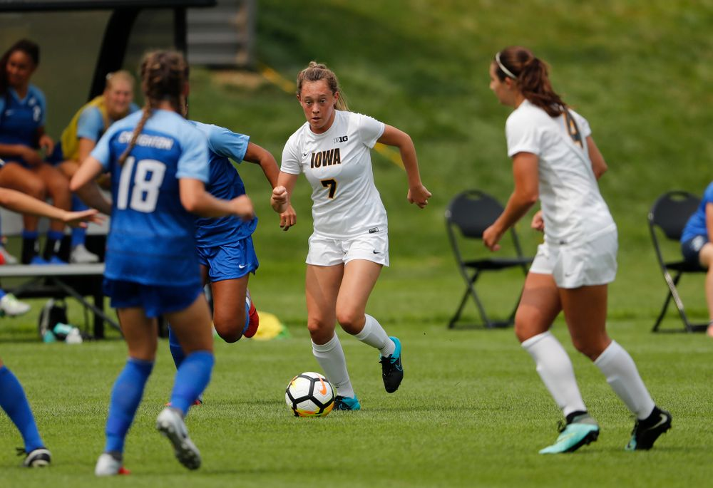 Iowa Hawkeyes Skylar Alward (7) against the Creighton Bluejays  Sunday, August 19, 2018 at the Iowa Soccer Complex. (Brian Ray/hawkeyesports.com)
