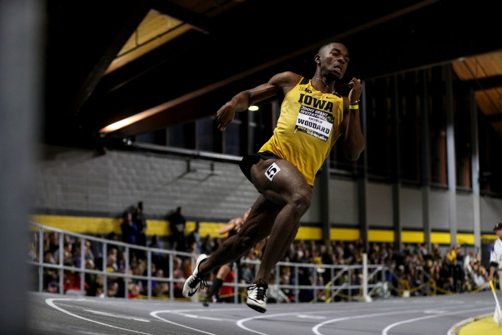 Iowa's Antonio Woodard runs the 300-meters during the Jimmy Grant Invitational Saturday, December 8, 2018 at the Recreation Building. (Brian Ray/hawkeyesports.com)