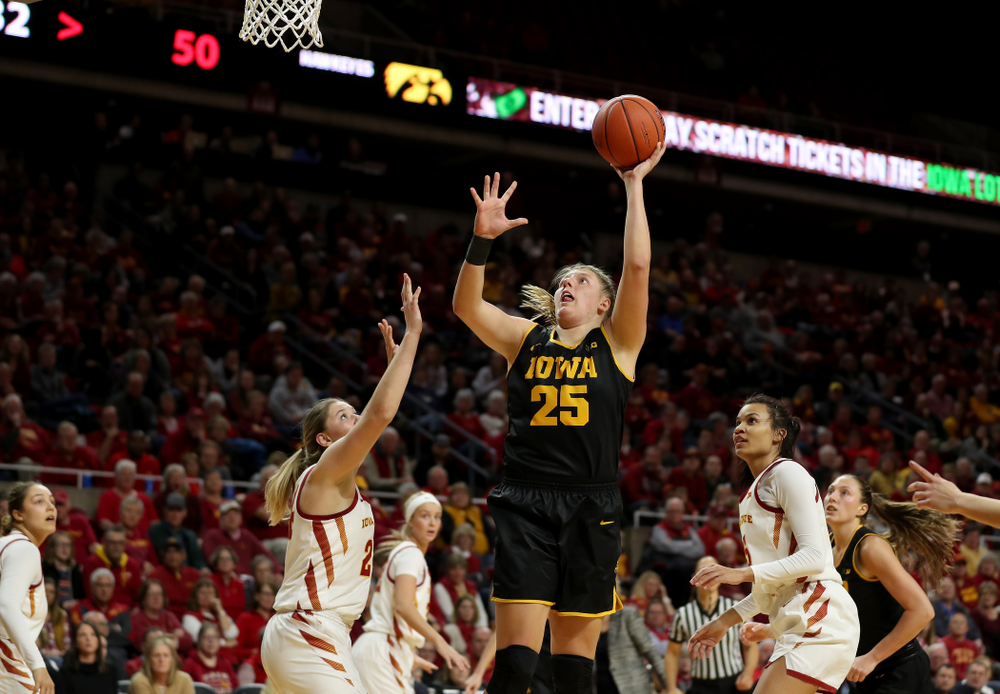 Iowa Hawkeyes forward/center Monika Czinano (25) against the Iowa State Cyclones Wednesday, December 11, 2019 at Hilton Coliseum in Ames, Iowa(Brian Ray/hawkeyesports.com)