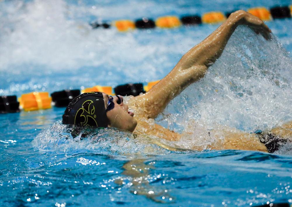 Iowa's Steve Fiolic swims the 100 yard backstroke