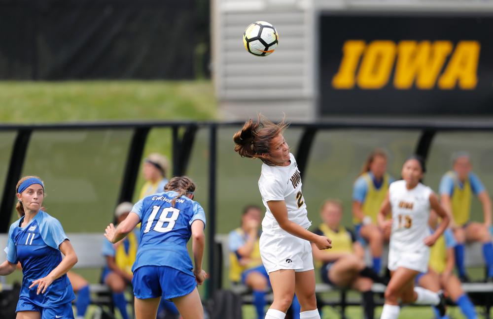 Iowa Hawkeyes Emma Tokuyama (21) against the Creighton Bluejays  Sunday, August 19, 2018 at the Iowa Soccer Complex. (Brian Ray/hawkeyesports.com)