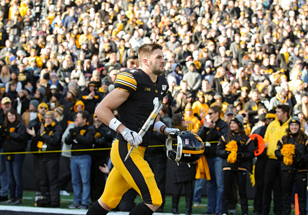 Iowa Hawkeyes defensive back Wes Dvorak (1) is acknowledged on senior day before their game at Kinnick Stadium in Iowa City on Saturday, Nov 23, 2019. (Stephen Mally/hawkeyesports.com)
