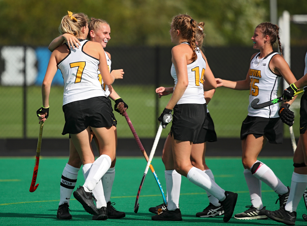 Iowa's Katie Birch (11) celebrates with teammates after scoring a goal during the second quarter of their game at Grant Field in Iowa City on Friday, Sep 13, 2019. (Stephen Mally/hawkeyesports.com)