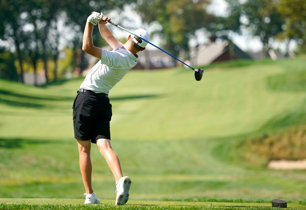 Iowa's Benton Weinberg tees off during the second day of the Golfweek Conference Challenge at the Cedar Rapids Country Club in Cedar Rapids on Monday, Sep 16, 2019. (Stephen Mally/hawkeyesports.com)
