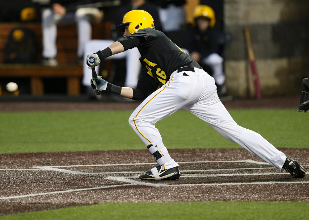 Iowa Hawkeyes shortstop Tanner Wetrich (16) lays down a bunt single during the sixth inning of their game against Western Illinois at Duane Banks Field in Iowa City on Wednesday, May. 1, 2019. (Stephen Mally/hawkeyesports.com)