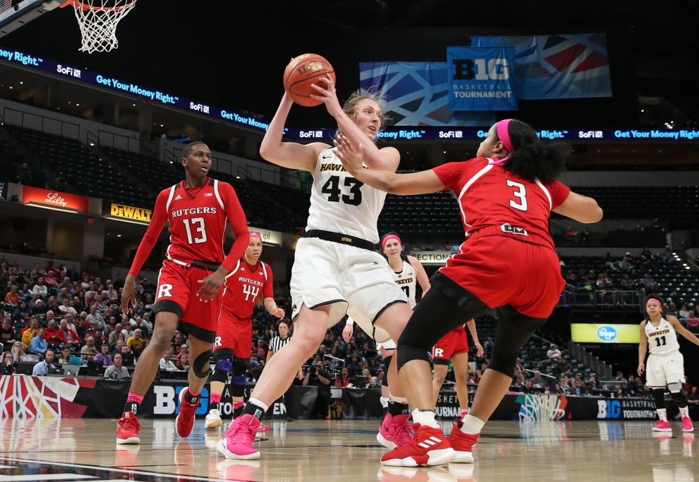 Iowa Hawkeyes forward Amanda Ollinger (43) against the Rutgers Scarlet Knights in the semi-finals of the Big Ten Tournament Saturday, March 9, 2019 at Bankers Life Fieldhouse in Indianapolis, Ind. (Brian Ray/hawkeyesports.com)