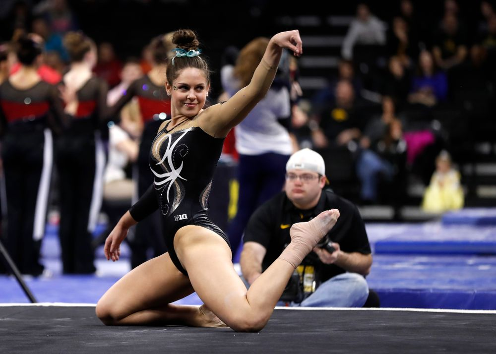 Iowa's Melissa Zurawski competes on the floor against the Nebraska Cornhuskers