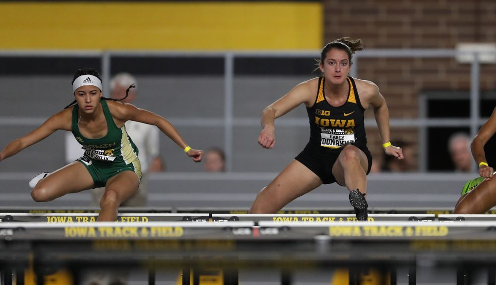 Iowa's Carly Donahue competes in the 60-meter hurdles during the Black and Gold Premier meet Saturday, January 26, 2019 at the Recreation Building. (Brian Ray/hawkeyesports.com)