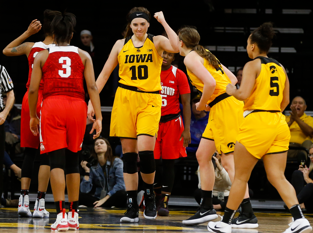 Iowa Hawkeyes forward Megan Gustafson (10) reacts after a made basket during a game against the Ohio State Buckeyes at Carver-Hawkeye Arena on January 25, 2018. (Tork Mason/hawkeyesports.com)
