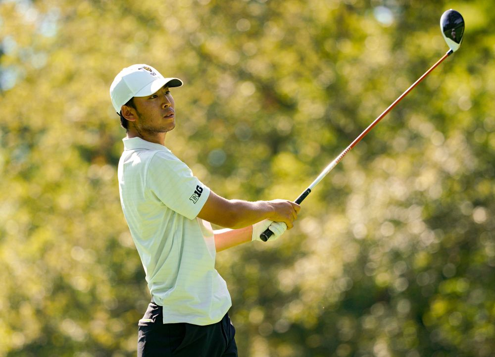 Iowa's Joe Kim tees off during the second day of the Golfweek Conference Challenge at the Cedar Rapids Country Club in Cedar Rapids on Monday, Sep 16, 2019. (Stephen Mally/hawkeyesports.com)