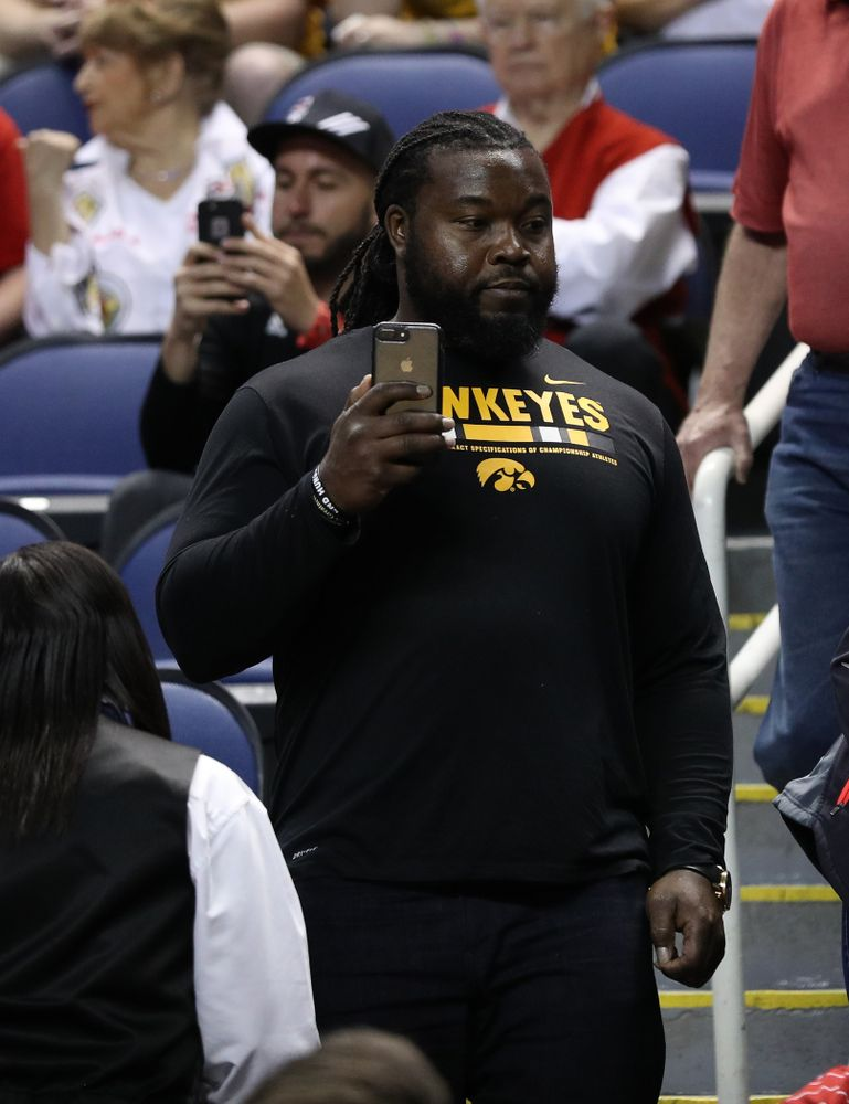 Former Hawkeye Football Player Colin Cole against the NC State Wolfpack in the regional semi-final of the 2019 NCAA Women's College Basketball Tournament Saturday, March 30, 2019 at Greensboro Coliseum in Greensboro, NC.(Brian Ray/hawkeyesports.com)