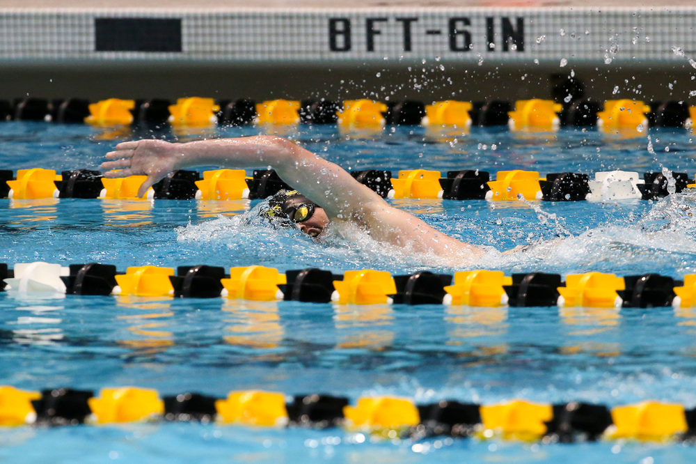 Iowa's Tom Schab during Iowa swim and dive vs Minnesota on Saturday, October 26, 2019 at the Campus Wellness and Recreation Center. (Lily Smith/hawkeyesports.com)