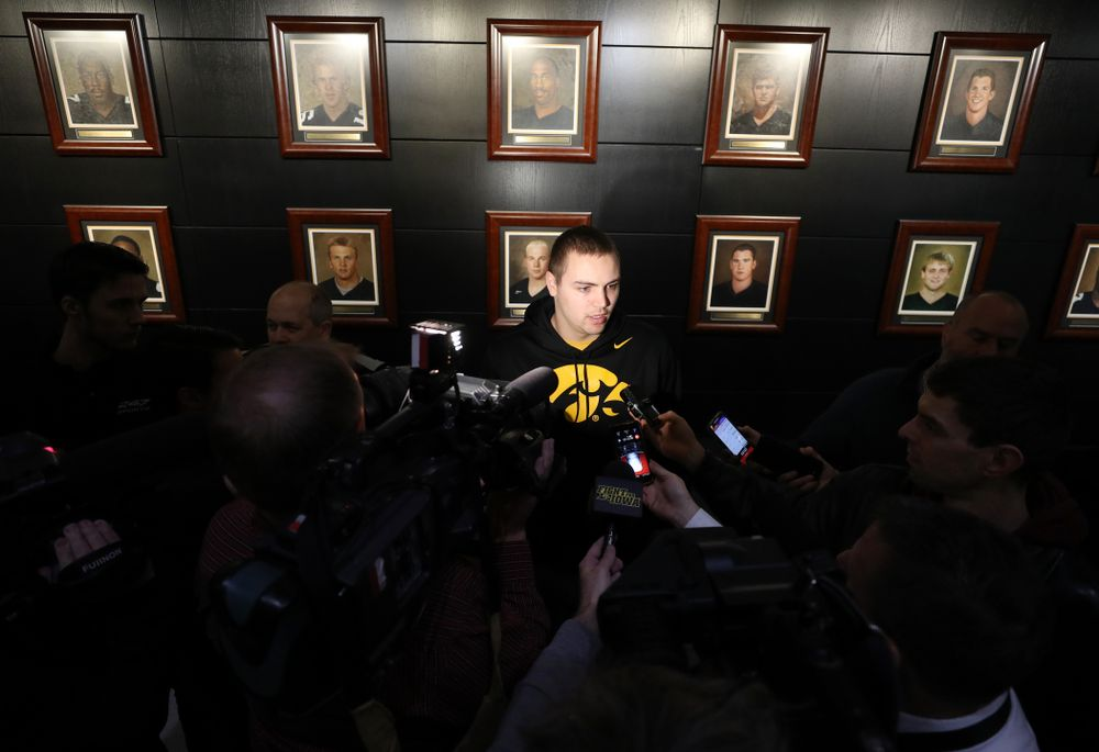 Iowa Hawkeyes quarterback Nate Stanley (4) addresses the media about the Hawkeyes selection to face Mississippi State in the Outback Bowl Sunday, December 2, 2018 at the Hansen Football Performance Center. (Brian Ray/hawkeyesports.com)