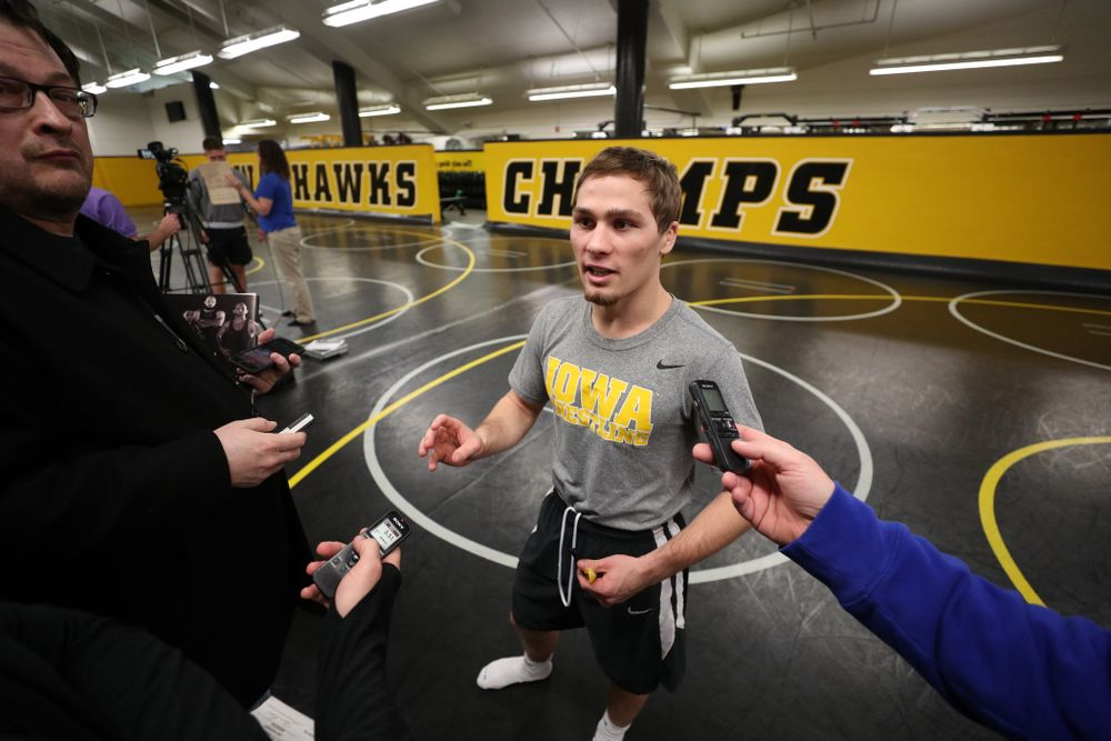 Iowa Hawkeyes 125 pound national champion Spencer Lee during the team's annual media day Monday, November 5, 2018 at Carver-Hawkeye Arena. (Brian Ray/hawkeyesports.com)