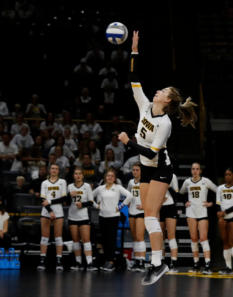 Iowa Hawkeyes outside hitter Meghan Buzzerio (5) against the Michigan State Spartans Friday, September 21, 2018 at Carver-Hawkeye Arena. (Brian Ray/hawkeyesports.com)