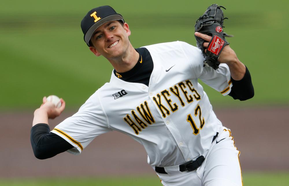 Iowa Hawkeyes pitcher Nick Nelsen (12)