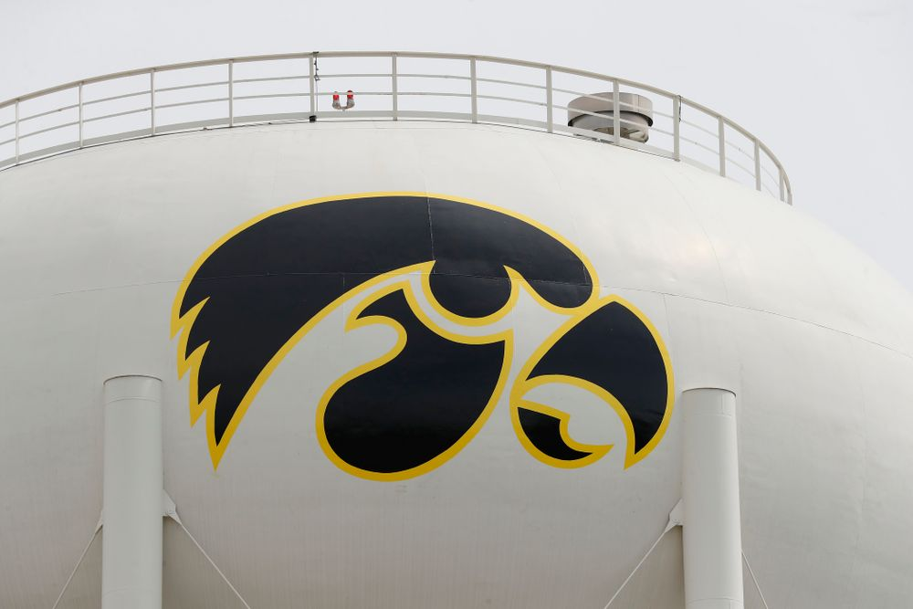 The new Tiger Hawk on the water tower can been seen from the outdoor patio on the third deck of the north end zone Wednesday, June 6, 2018 at Kinnick Stadium. (Brian Ray/hawkeyesports.com)