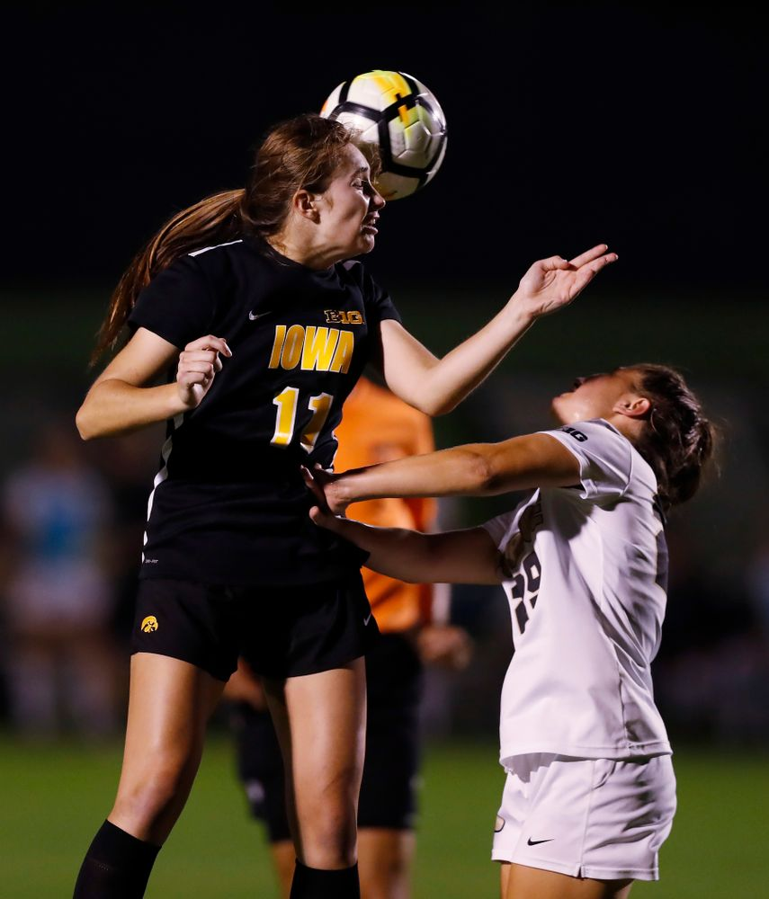 Iowa Hawkeyes Sydney Blitchok (11) against the Purdue Boilermakers Thursday, September 20, 2018 at the Iowa Soccer Complex. (Brian Ray/hawkeyesports.com)