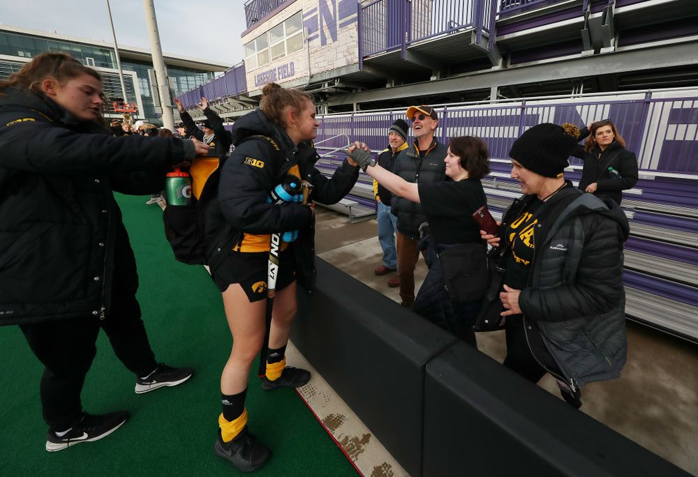 Iowa Hawkeyes Maddy Murphy (26) and her family following their game against the Michigan Wolverines in the semi-finals of the Big Ten Tournament Friday, November 2, 2018 at Lakeside Field on the campus of Northwestern University in Evanston, Ill. (Brian Ray/hawkeyesports.com)