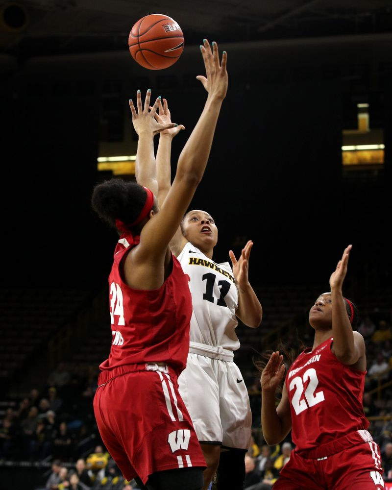Iowa Hawkeyes guard Tania Davis (11) against the Wisconsin Badgers Monday, January 7, 2019 at Carver-Hawkeye Arena.  (Brian Ray/hawkeyesports.com)