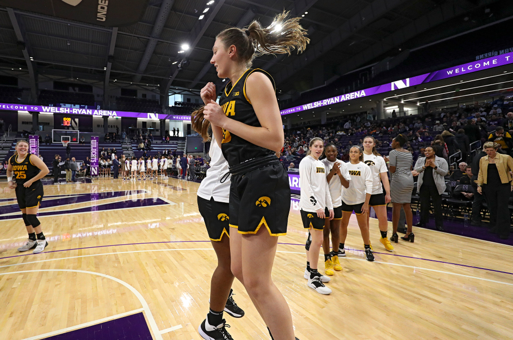 Iowa Hawkeyes forward Amanda Ollinger (43) is introduced before their game at Welsh-Ryan Arena in Evanston, Ill. on Sunday, January 5, 2020. (Stephen Mally/hawkeyesports.com)