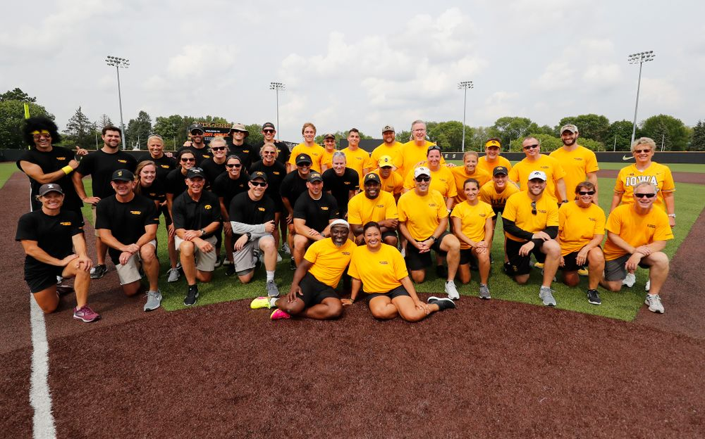 The Black and the Gold teams during the Iowa Student Athlete Kickoff Kickball game  Sunday, August 19, 2018 at Duane Banks Field. (Brian Ray/hawkeyesports.com)
