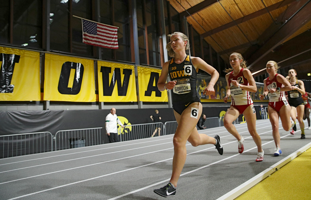 Iowa's Emma Gordon runs the women's 3000 meter run event during the Larry Wieczorek Invitational at the Recreation Building in Iowa City on Friday, January 17, 2020. (Stephen Mally/hawkeyesports.com)