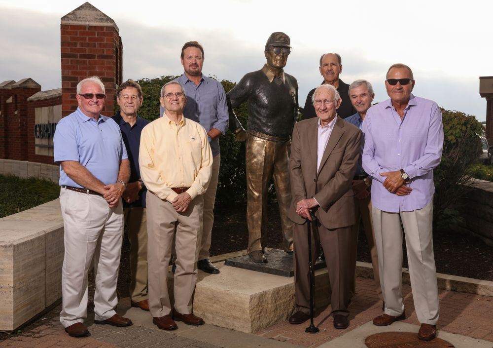 The 1983 Hawkeye Football Coaching Staff at Fry Fest Thursday, August 30, 2018 in Coralville. (Brian Ray/hawkeyesports.com)