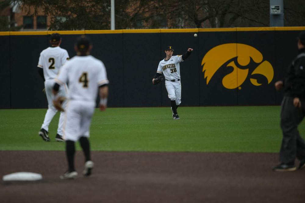 Iowa pitcher Trenton Wallace (38) at game 1 vs Illinois on Friday, March 29, 2019 at Duane Banks Field. (Lily Smith/hawkeyesports.com)