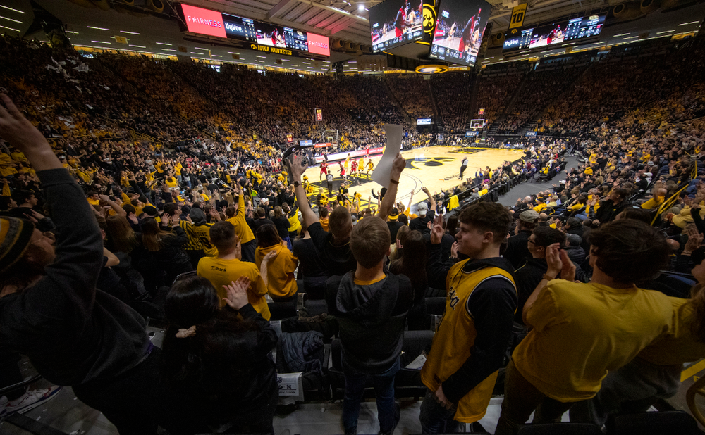 The Hawks Nest cheers during the first half of their game at Carver-Hawkeye Arena in Iowa City on Saturday, February 8, 2020. (Stephen Mally/hawkeyesports.com)